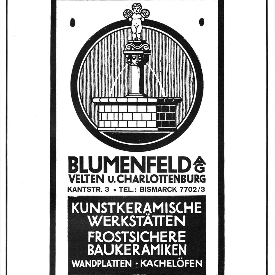Annonce der Richard Blumenfeld AG, Velten, 1929