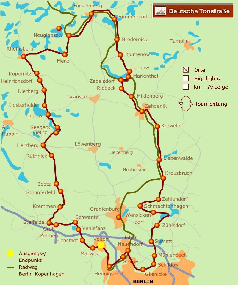 Orte an der Deutschen Tonstrasse